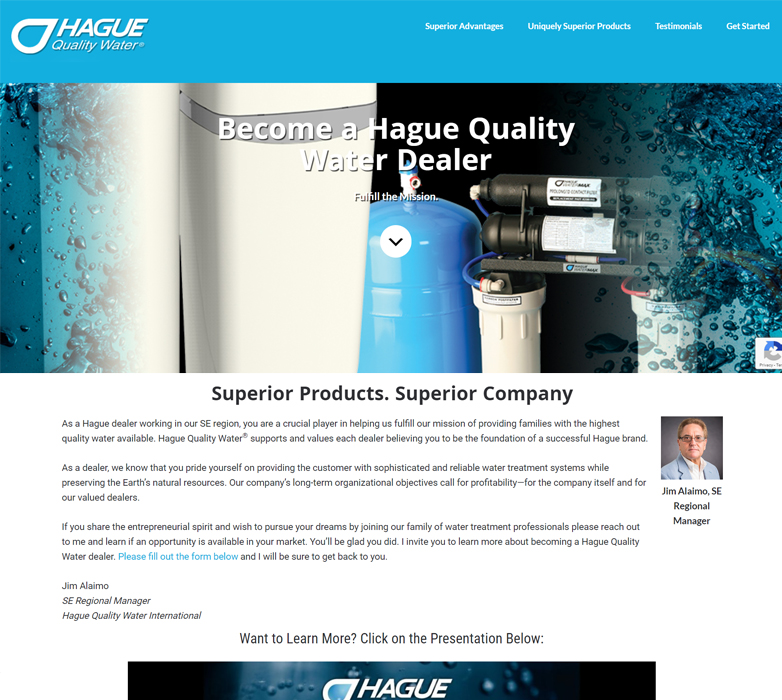 One page website sample hague